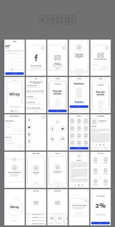 Wirey Mobile Wireframe Kit #ux #wireframe #ui #kit #photoshop #webelements #blog #portfolio #promo #clients #flow #wirey #site #userflow #mobile #app #design #appdesign #mobileappdesign #mobileappwireframe #sketch