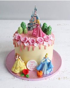 Birthday Drip Cake, Pink Birthday Cakes, Frozen Birthday Cake, 4th Birthday, Disney Princess Birthday Cakes, Bolo Minnie, Rosalie, Disney Cakes, Drip Cakes