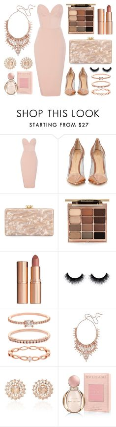 """""""Rose Gold: On the Red Carpet"""" by michellexueyi ❤ liked on Polyvore featuring Christian Siriano, Gianvito Rossi, Edie Parker, Stila, Charlotte Tilbury, Accessorize, Kendra Scott, Nam Cho and Bulgari"""