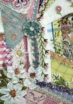 "crazy #quilt detail ---  *I would LOVE to make a (crazy) quilt like this some day but mine will be ""Gypsy"" inspired and I will call it the Gypsy Quilt."
