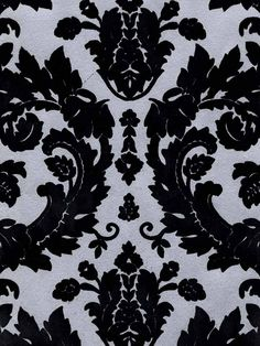 Silver and Black Flocked Damask Wallpaper | VELVET COLLECTIBLES | AmericanBlinds.com