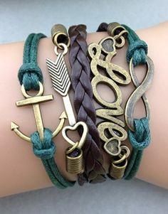 Infinity, Love, Arrow, Anchor – Brown/Green