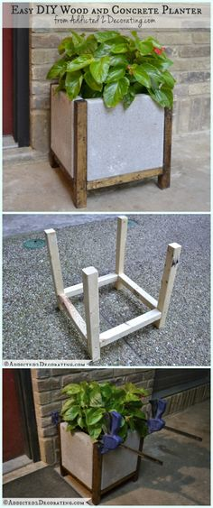 DIY Easy Wood Concrete Planter Instructions- DIY Concrete Planter Ideas #Gardening