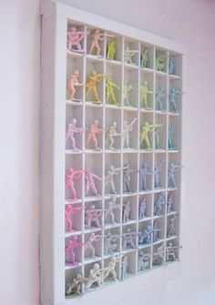 Pastel toy army soldiers display -- colors inspired by the film Marie Antoinette
