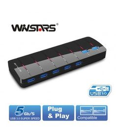 Winstars Port USB Hub with Power Adapter can connect up to 7 devices to any or compatible computer. Electronics Gadgets, Tech Gadgets, Super Speed, Usb Hub, Usb Drive, Plugs, Steam Punk, Mobiles, Transformers