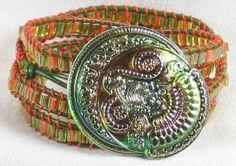 Beaded Bracelet Leather Goddess Phoenix Olive by VioletJewelry, $48.00