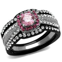 Two Tone Black Ion & High Polished Stainless Steel Pink & Clear AAA CZ Women's Wedding Ring Set