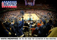 """Memphis is 1 of 10 schools nominated for the """"Best Road Trip Destination in College Basketball."""" Cast your vote for Memphis at https://www.facebook.com/BestofCollegeBasketball/app_480356182002700. Fans can vote once per day until January 25."""
