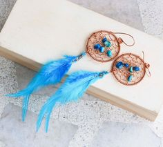 Dream Catcher Earrings Copper Wire Wrap Sky Blue Feather Shell Bead Handmade #Jeanninehandmade #Wrap