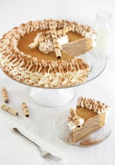 Pumpkin Crepe Cake: There are times when you need to go next level. Maybe you are hosting Thanksgiving for the first time. Or perhaps you just want to treat your friends to something really spectacular when you host book group this month. This pumpkin crepe cake recipe is as gorgeous as it it delicious - it's a unique pumpkin dessert that will definitely impress on Thanksgiving or at your fall wedding.