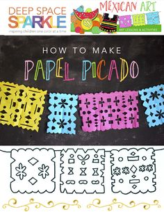 How to Make a Papel Picado - Deep Space Sparkle Projects For Kids, Art Projects, Crafts For Kids, Mexican Crafts Kids, Mexico Crafts, Mexican Heritage, Hispanic Heritage, Deep Space Sparkle, Cultural Crafts