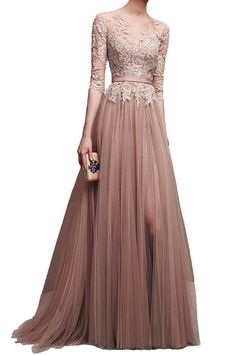 Fanmu 3/4 Sleeves Lace Appliques Tulle Split Prom Dresses Formal Gowns Brown ...: Note: If you want your… #WomensClothing #LadiesClothes