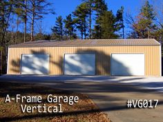 An A-frame garage with Vertical Roof Style is the perfect A-frame garage option. Coast To Coast Carports, Metal Garages, Roof Styles, Garage Doors, Boat, Building, Frame, Outdoor Decor, Picture Frame