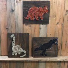 Items similar to Dinosaur Set Sting Art - Dino Decor - T Rex Art - Triceratops Decor - String Art - Boys Room Decor - Dinosaur - Dinosaur Wall Decor on Etsy Boys Room Decor, Boy Room, Decoration, Art Decor, Geek Decor, String Art Diy, Cuadros Diy, String Art Patterns, Doily Patterns