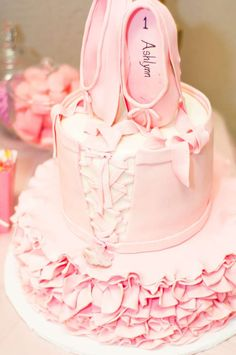 Amazing ruffle cake at a pink and gold ballerina birthday party! See more party planning ideas at CatchMyParty.com!