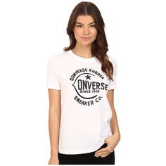 Converse Archive Logo Short Sleeve Tee (White) Women's T Shirt ($25) ❤ liked on Polyvore featuring tops, t-shirts, short sleeve graphic tees, converse t shirt, white logo t shirts, logo tees and white t shirt