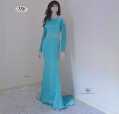 Long Sleeve Round Neck Evening Gown Style 6601 in Aqua Blue by Miracle Agency Aqua Blue Color, Designer Evening Gowns, Bridal And Formal, Stretch Satin, Chic Dress, Formal Evening Dresses, Fitted Bodice, Formal Wear, Glamour