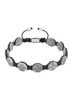 Nialaya Flatbead Bracelet with Silver Dorje Beads - Extra Large cd3CEN