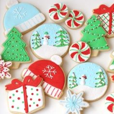 Collection of decorated Christmas cookies. So many great ideas and recipes!