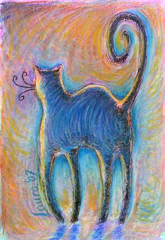 curly cat    Wax pastel and coloured pencil on paper.