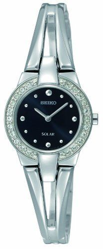 Seiko Women's SUP051 Stainless Steel Analog with Black Dial Watch Seiko. $169.99. Case diameter: 22 mm. Water-resistant to 30 M (99 feet). Quartz movement. Stainless steel case. Scratch resistant hardlex. Save 24% Off!