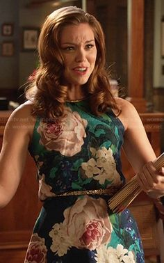 AnnaBeth's turquoise rose print dress on Hart of Dixie.  Outfit Details: http://wornontv.net/20185/ #HartofDixie
