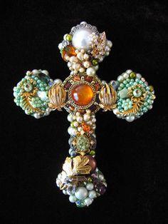 vintage jewelry in wall crosses | Roslin Cross Vintage Jewelry Art Sculpture Wall Decor