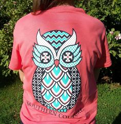 Southern Couture Classic Geo Owl Chevron Coral Silk Girlie T-Shirt -Preppy Style #CoutureTeeCompany #GraphicTee