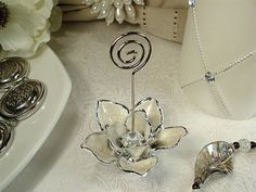 White Magnolia Place Card Holders