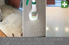 Deep Cleaning Grubby Terrazzo Kitchen Tiles at Manchester Apartment - Greater Manchester Tile Doctor Kitchen Tiles, Kitchen Flooring, Terrazzo Tile, Luxury Accommodation, Deep Cleaning, Spray Bottle, Cleaning Supplies, Apartments, Manchester