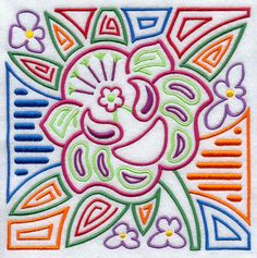 Mola Holy Ghost Orchid Square design (E8545) from www.Emblibrary.com