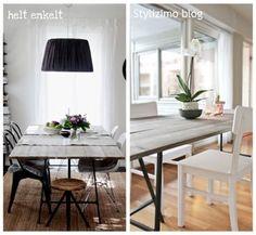 IKEA trestle legs on dining table. (Vika Lerberg legs, $10 each)