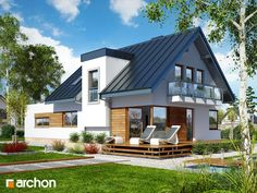 projekt Dom w amarylisach 3 dodatkowa wizualizacja Contener House, Outdoor Restaurant Design, One Storey House, House Cladding, Villa, Modern Rustic Homes, House Viewing, Narrow House, House Color Schemes