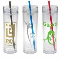 """16 Oz. Double wall clear tumbler with straw. BPA free SAN, 3 straw colors to choose from. Press-fit lid with silicone gasket.  7"""" H x 3"""" Diameter"""
