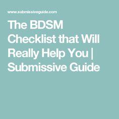 Criticism advise Online bdsm checklist