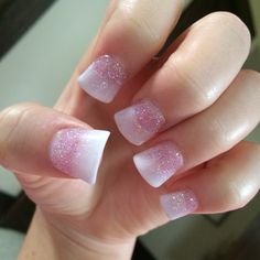 Probably my favorite nails yet, ombré pink glitter and flared white tips