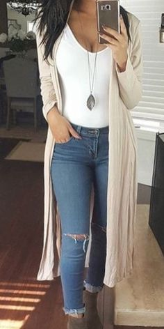 Beige Long Casual Cardigan Fall Outfits,Summer,Work,Casual Source by outfits casual Spring Outfits Women Casual, Summer Work Outfits, Classy Outfits, Summer Work Clothes, Casual Women's Outfits, Early Spring Outfits, Casual Summer Outfits For Women, Autumn Outfits, Dress Casual