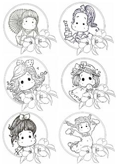 How cute will these be to color! Free Printable Coloring Pages, Coloring Book Pages, Pintura Magnolia, Digital Stamps Free, Magnolia Colors, Doodle Coloring, Atc Cards, Spectrum Noir, Black And White Drawing