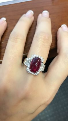 Pigeon blood red ruby and diamond ring . Set in platinum #rubyjewelry