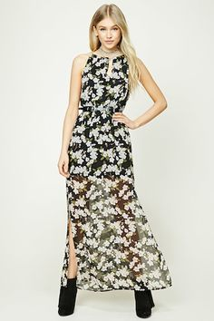 Floral Print M-Slit Maxi Dress