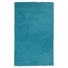 """Highlighter Blue Solid Shag or Flokati Accent Rug - (2'3"""" x 3'9"""") - Kas Rugs"""