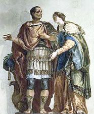 Calpurnia Pisone and Caesar: she was a woman discreet and reserved, she was educated according to the principles of the 'mos maiorum'. Calpurnia waited her husband for most of their marriage and when ... [Italian translation] ... [italian translation]