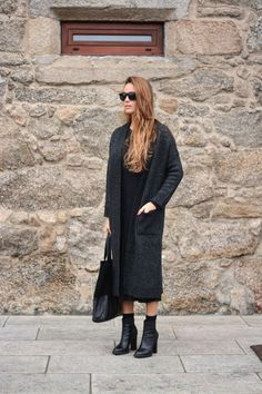 long hair, long coat, midi dress, tote & ankle boots #style #fashion