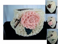 How to Crochet an EASY CROCHET COWL SCARF AND FLOWER by SweetPotatoPatterns