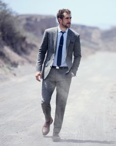 J.Crew men's Ludlow suit in glen plaid and Alfred Sargent for J.Crew boots.
