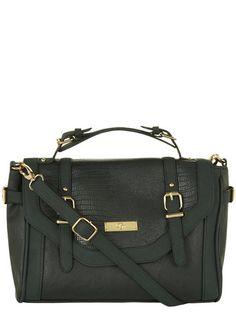 Green double tab satchel bag