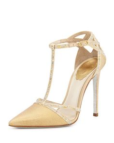 Lizard+&+Crystal+T-Strap+Pump,+Champagne+Gold+by+Rene+Caovilla+at+Neiman+Marcus.