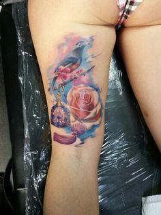 #bird #rose #parfume #fullcolor #leg #tattoo #tattoos #tattooed #tatt #tatts #ink #inked #ES13 #elektrischer #stuhl #halle #saale #hallesaale #grh13 #beeebaaaabuuub #bulletstattooink #carbonblack #inkjecta #flitev2 #tattoosafe #easegrease143