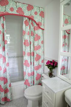 shaped shower cornice and double curtains  - Design Manifest #cornice #showercurtain