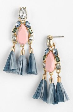 Free shipping and returns on MISSING PIECE 'Raffia Tassel' Mixed Media Drop Earrings at Nordstrom.com. Swishy raffia tassels look extra-chic when mixed with sparkling crystals in soft, pastel hues on these statement drop earrings.